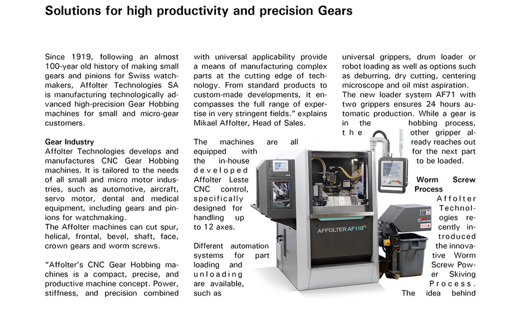 Affolter - Media - presse - precision gear - Swiss Machining