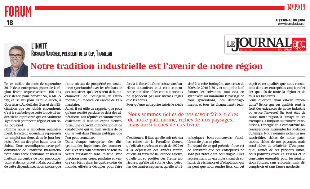 Journal du Jura - 100 ans de tradition