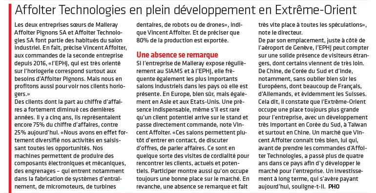 Journal du Jura - Article EPHJ 20180613 - Affolter