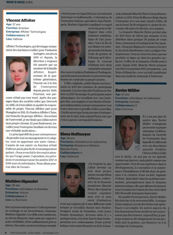 PME Magazine - Vincent Affolter directeur Affolter Technologies SA