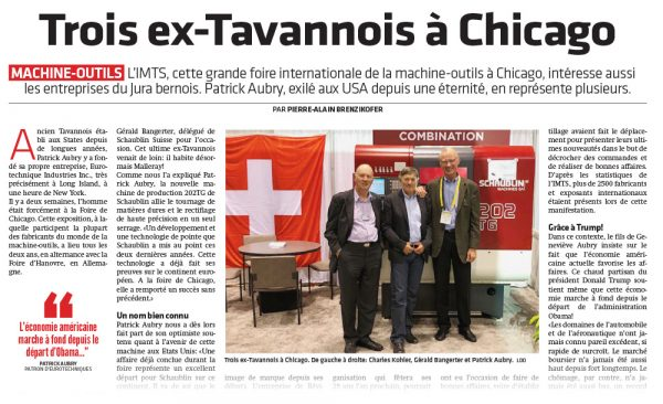 Journal du Jura - Salon international IMTS Chicago