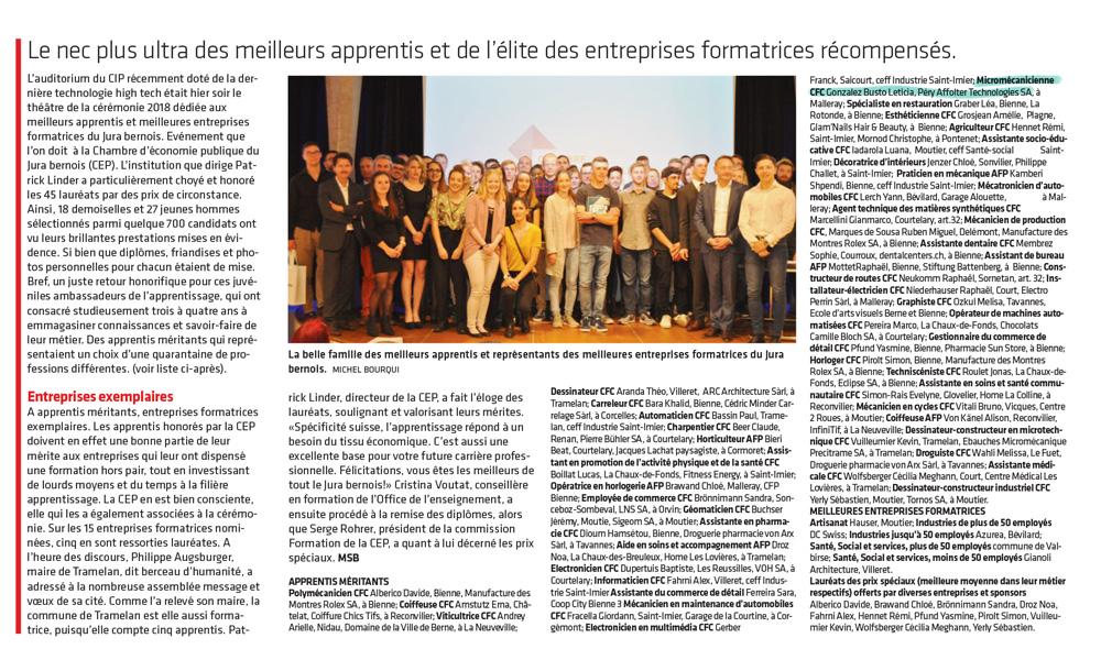 Journal du jura - Apprentissage, formation - Meilleurs apprentis