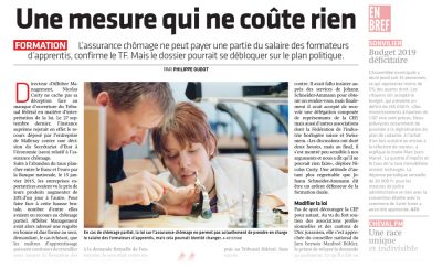 Journal du jura - Apprentissage, formation - Chômage partiel