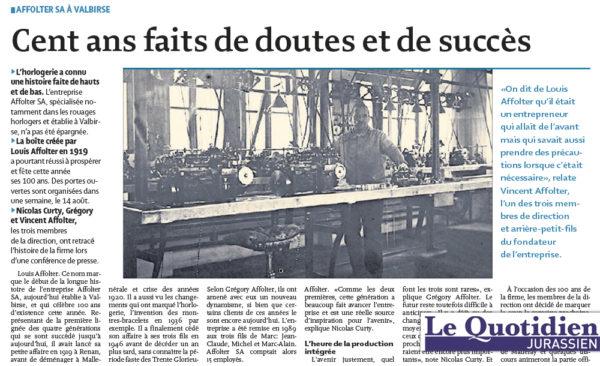 Cent ans faits de doutes et de succès - Quotidien Jurassien