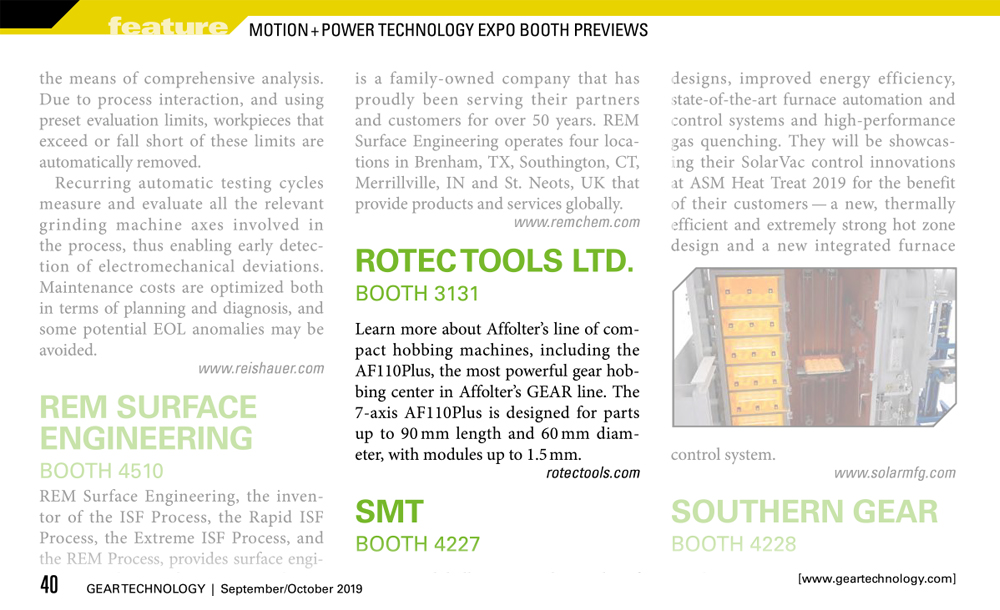 Press Release Gear Technology - Motion+Power 2019