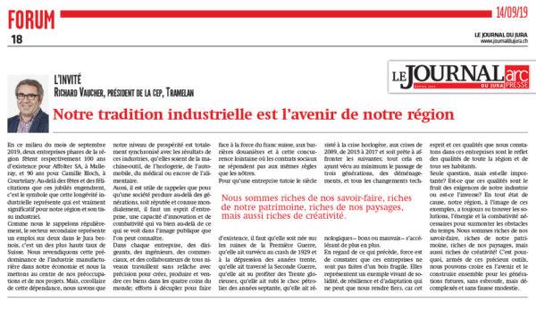 Notre tradition industrielle est l'avenir de notre région - Journal du Jura