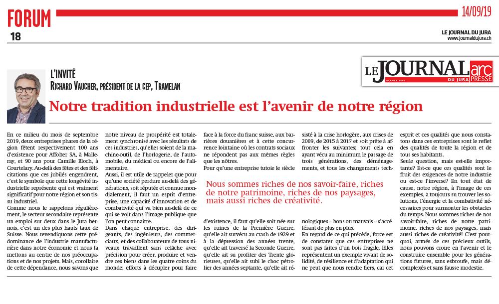 Affolter fait le plein pour sonNotre tradition industrielle est l'avenir de notre région - Journal du Jura 14.09.2019