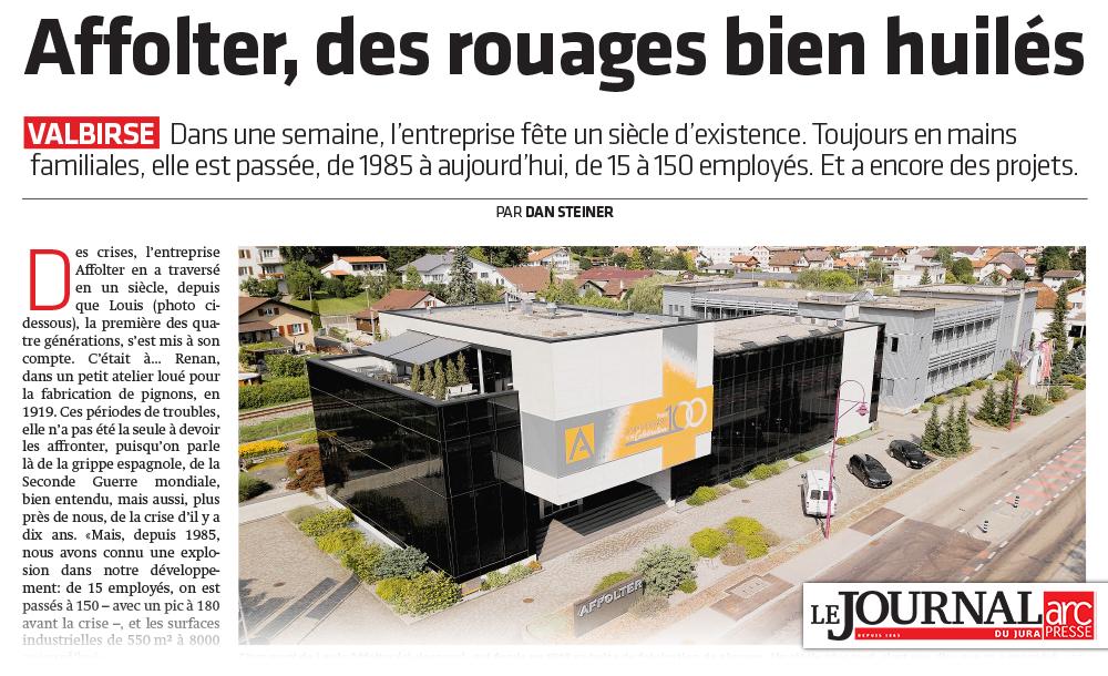 Affolter, des rouages bien huilés - Journal du Jura 06.09.2019