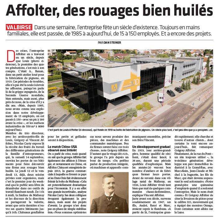 Affolter, des rouages bien huilés - Article Journal du Jura