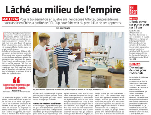 Articles de presse « Stage en Chine »22 septembre 2019