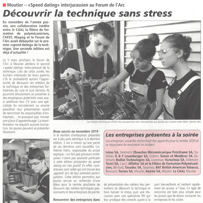 Article de presse - La Semaine - Speed dating, interjurassien